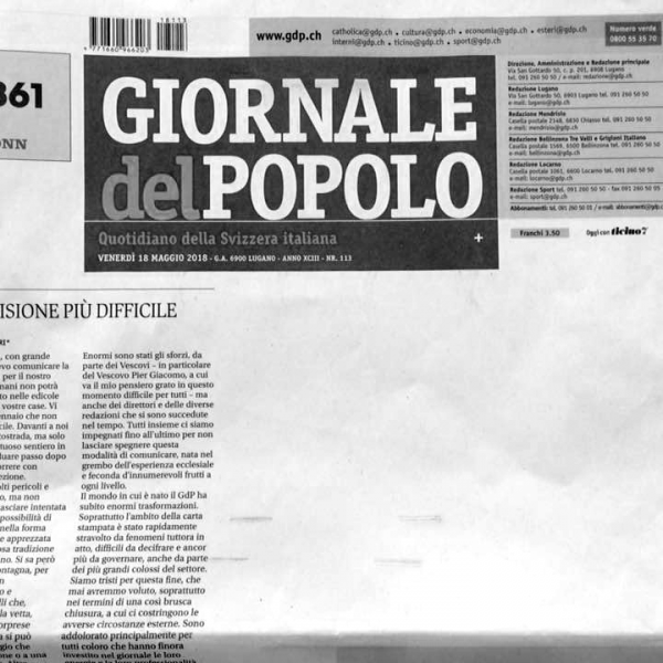 «Giornale del popolo,» ultimo numero | Foto: Luca Lovisolo