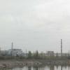 Černobyl', la centrale, vista completa. A sinistra dell'edificio il blocco 4, esploso nel 1986.